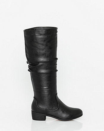 Leather-Like Almond Toe Knee-High Boot