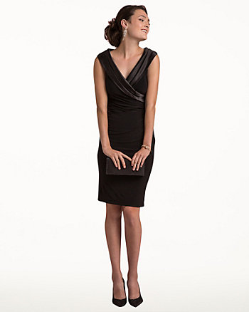 Knit Satin Trim Cocktail Dress