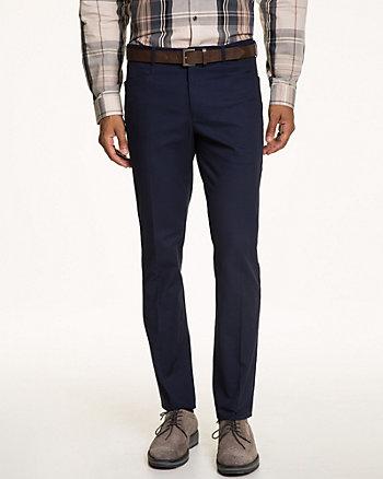Cotton Blend Slim Fit Belted Pant