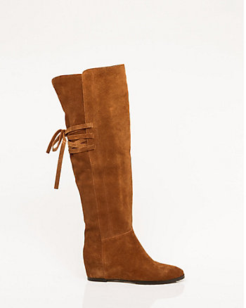 Suede Concealed Wedge Over-the-Knee Boot