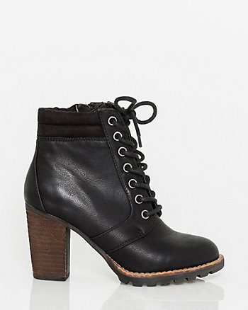 Leather-Like Lace-up Ankle Bootie
