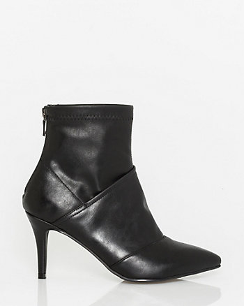 Leather-Like & Stretch Ankle Boot