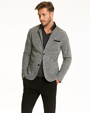 Tonal Knit Notch Lapel Blazer