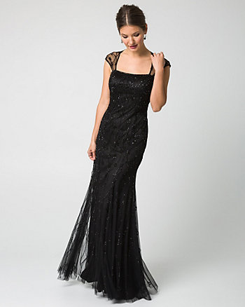 Beaded Knit Square Neck Gown