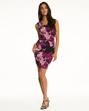 Floral Print Knit Cowl Back Cocktail Dress