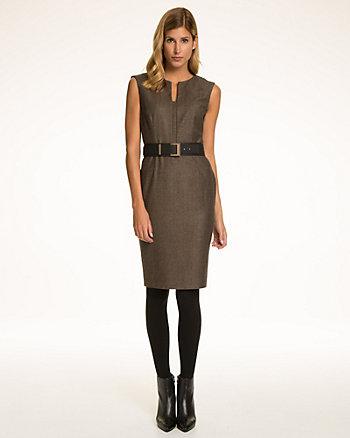 Herringbone Wool Blend Belted Shift Dress