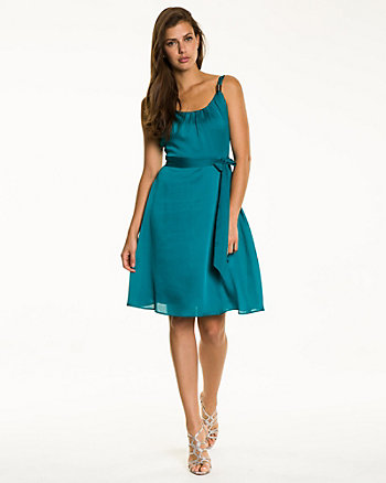 Satin Fit & Flare Cocktail Dress