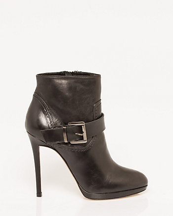 Italian-Made Leather Almond Toe Bootie
