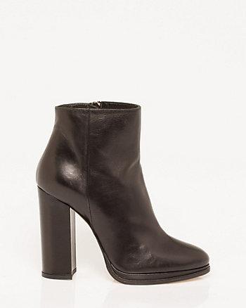 Italian-Made Leather Block Heel Bootie