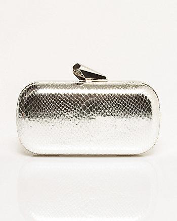 Leather-Like Snakeskin Texture Minaudière