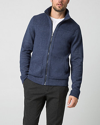 Cotton Funnel Neck Cardigan