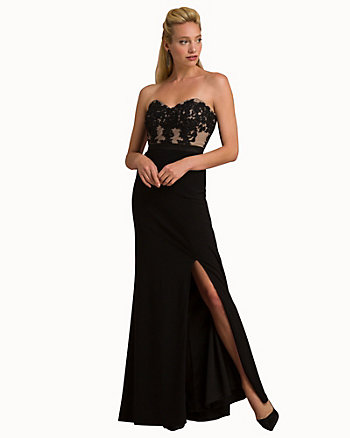 Embellished Strapless Fitted Gown