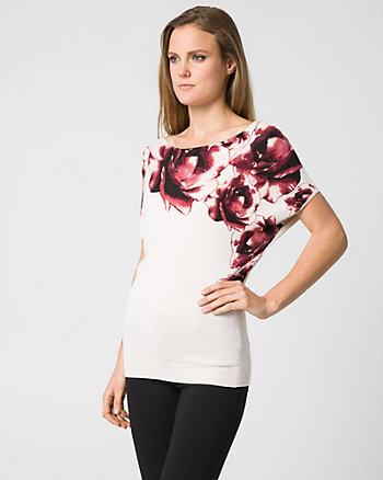 Floral Print Viscose Blend Sweater