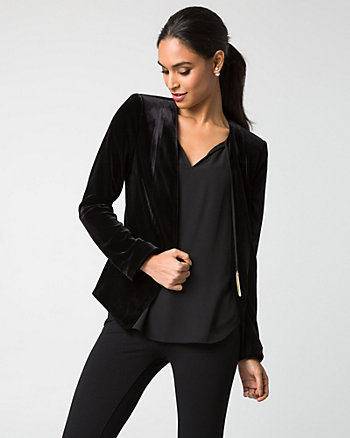 Velvet Collarless Open-Front Blazer