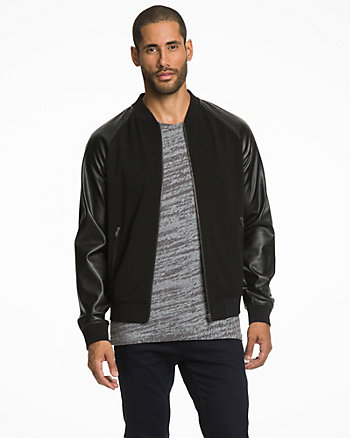 Viscose & Leather-Like Baseball Jacket