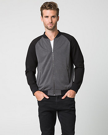 Knit Slim Fit Bomber Jacket