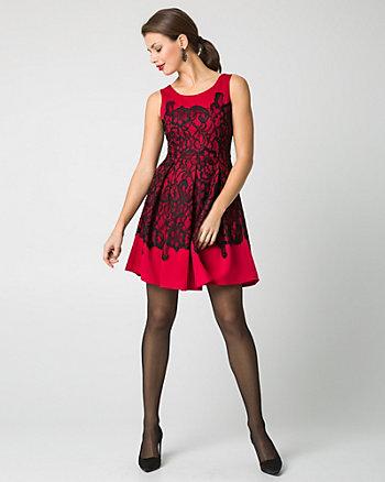 Scuba & Lace Combo Scoop Neck Cocktail Dress