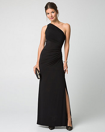 Knit One-Shoulder Ruched Gown
