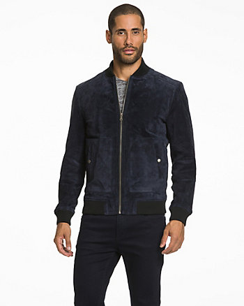 Suede Slim Fit Bomber Jacket
