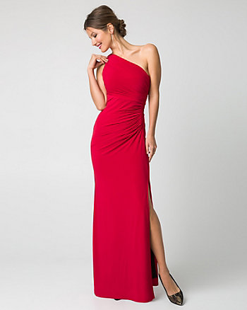 Stretch Knit One-Shoulder Gown