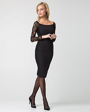 Double Weave Boat Neck Cocktail Dress