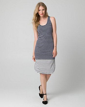 Stripe Jersey Scoop Neck Slit Dress
