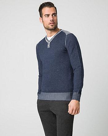 Cotton Henley Neck Sweater