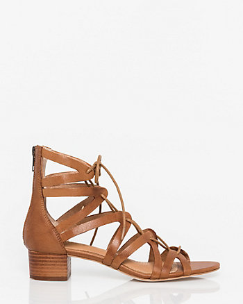 Leather Open Toe Ghillie Tie Sandal