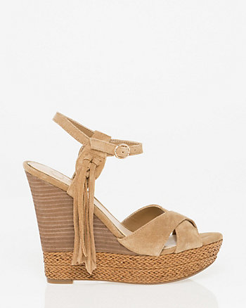 Suede Open Toe Wedge Sandal