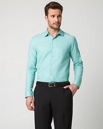Tonal Cotton Blend Slim Fit Shirt