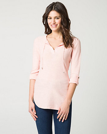 Cotton Lace-Up Henley Sweater