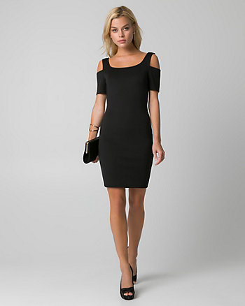 Scuba Knit Cold Shoulder Cocktail Dress