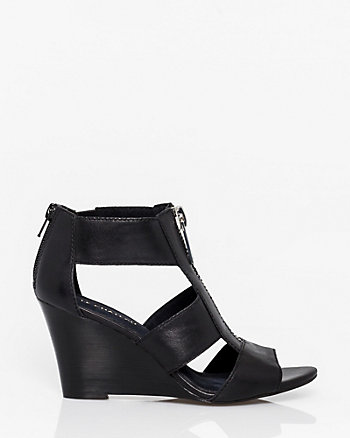 Leather Open Toe Gladiator Wedge Sandal