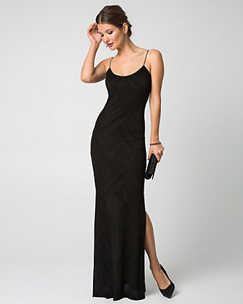 Textured Knit Scoop Neck Gown