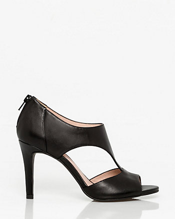 Leather Open Toe Cutout Sandal