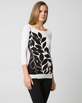 Floral Print Viscose Blend Boat Neck Sweater