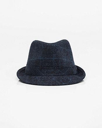 Check Print Flannel Fedora Hat