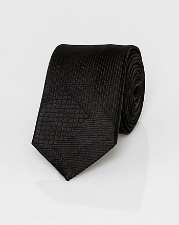 Textured Geometric Print Silk Tie