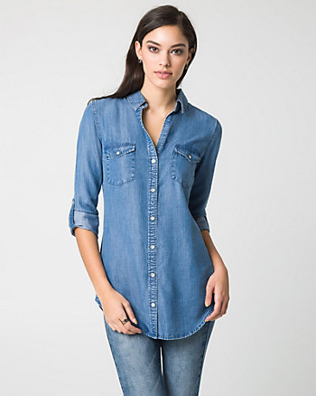 Lyocell Button-Front Tunic Shirt