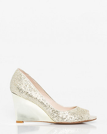 Glitter Mesh Peep Toe Wedge