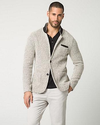 Two-Tone Knit Slim Fit Blazer