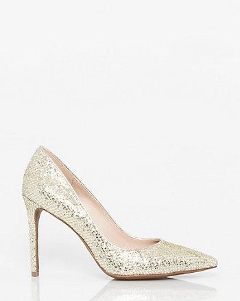 Glitter Mesh Pointy Toe Pump
