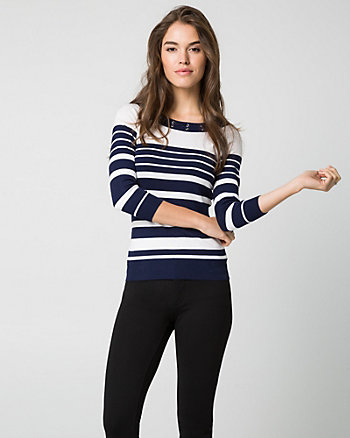 Stripe Viscose Blend Boat Neck Sweater