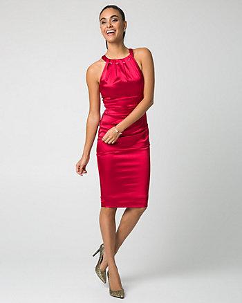 Satin Halter Neck Cocktail Dress