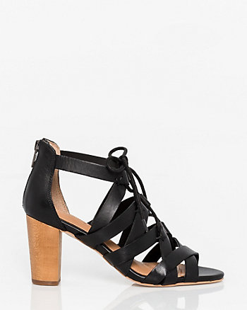 Burnished Leather Ghillie Tie Sandal