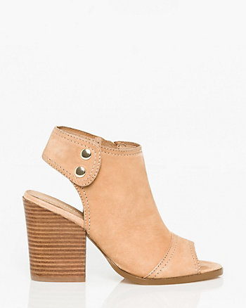 Leather Open Toe Slingback Shootie