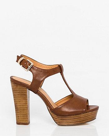 Leather-Like T-Strap Sandal