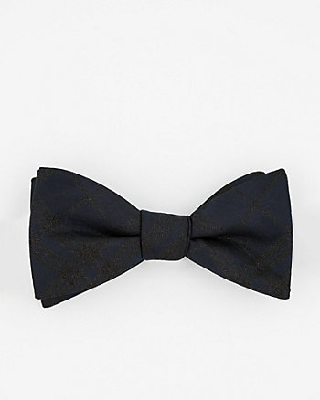 Check Print Lurex Bow Tie