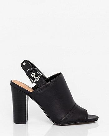Leather-Like Peep Toe Shootie
