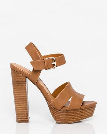 Leather-Like Platform Open Toe Sandal